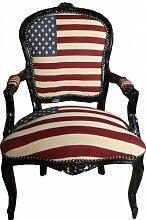 Casa Padrino Barock Salon Stuhl USA Design/Schwarz