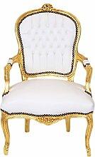 Casa Padrino Barock Salon Stuhl Weiß/Gold -