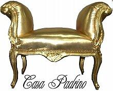 Casa Padrino Barock Schemel Hocker Gold/Gold