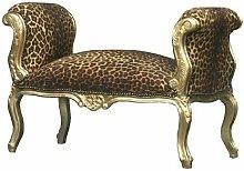 Casa Padrino Barock Schemel Hocker Leopard/Gold -