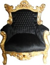 Casa Padrino Barock Sessel Al Capone Schwarz-Gold