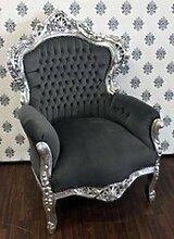 Casa Padrino Barock Sessel King Grau/Silber