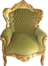 Casa Padrino Barock Sessel King Jadegrün/Gold