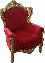 Casa Padrino Barock Sessel King Rot/Gold Mod2 -