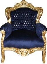 Casa Padrino Barock Sessel King royalblau / gold