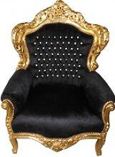 Casa Padrino Barock Sessel King Schwarz / Gold mit