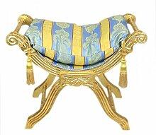 Casa Padrino Barock Sitzbank Gold Muster Bunt/Gold- Kreuzhocker Hocker