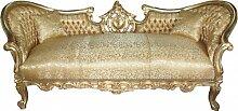 Casa Padrino Barock Sofa Garnitur 'Vampire' Gold Muster Satin - Antik Design - UNIKAT