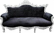 Casa Padrino Barock Sofa Master Schwarz/Silber -