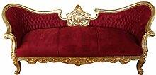 Casa Padrino Barock Sofa Vampire Bordeaux/Gold-