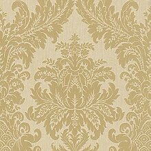 Casa Padrino Barock Textiltapete Creme/Gold 10,05