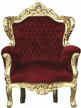 Casa Padrino Barock Thron Sessel King Bordeaux / Gold