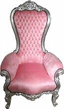 Casa Padrino Barock Thron Sessel Majestic Medium Rosa/Silber - Riesensessel - Thron Stuhl Tron