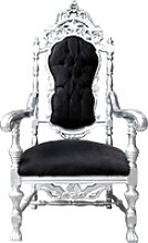 Casa Padrino Barock Thron Sessel Schwarz / Silber