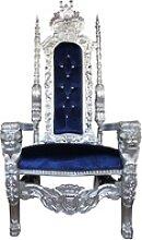 Casa Padrino Barock Thron Sessel Silber / Blau mit
