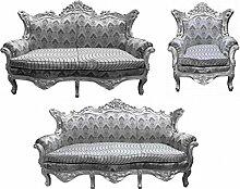 Casa Padrino Barock Wohnzimmer Set Grau Muster/Silber- 3er Sofa+2er Sofa + 1 Sessel