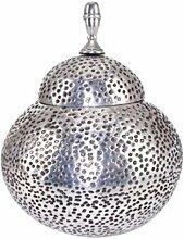 Casa Padrino Deko Gefäß - Vase mit Deckel - Aluminium Poliert Orientalisches Design