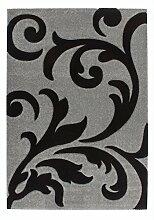 Casa Padrino Design Teppich Silber Schwarz -