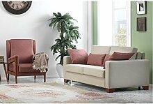 Casa Padrino Designer 3er Schlaf Sofa mit ausklappbaren Bett Florence Creme - Hotel Möbel