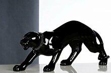 Casa Padrino Designer Panther mit Diamant-Halsband - Edle Skulptur L 60 cm, H 28 cm