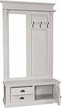 Casa Padrino Garderoben Schrank mit Spiegel, Schrankfach und Schubladen - Landhaus Stil Garderobe, Farbkombinationen:Hellgrau