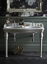 Casa Padrino Jugendstil Stand Waschtisch mit 2 Waschbecken Weiß Barocco - Barock Stil
