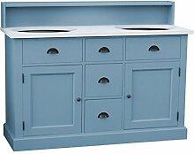 Casa Padrino Landhaus Stil Waschschrank Waschtisch inkl 2 Waschbecken mit Schubladen und Schranktüren - Bad Schrank Massivholz, Farbe:Blau