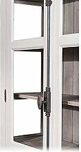 Casa Padrino Landhaus Vitrinen Schrank Küchenschrank 109 x H 210 cm- Esszimmer Schrank Wohnzimmer Antik Landhaus Stil, Farbkombinationen:Weiß / Innen Grau