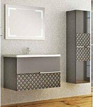 Casa Padrino Luxus Badezimmer Set Grau / Schwarz -