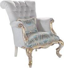 Casa Padrino Luxus Barock Samt Sessel mit Kissen