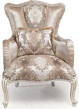Casa Padrino Luxus Barock Sessel mit Kissen Beige