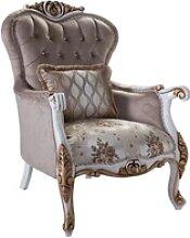 Casa Padrino Luxus Barock Sessel mit Kissen Grau /