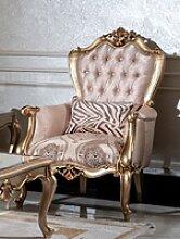Casa Padrino Luxus Barock Sessel Rosa / Schwarz /
