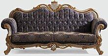 Casa Padrino Luxus Barock Sofa Blau/Silber/Gold