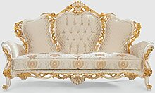 Casa Padrino Luxus Barock Sofa Creme/Weiß/Gold