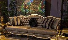 Casa Padrino Luxus Barock Sofa Grau/Gold 243 x 78