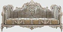 Casa Padrino Luxus Barock Sofa Grau/Silber/Gold