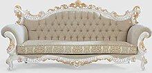 Casa Padrino Luxus Barock Sofa Greige/Weiß/Gold