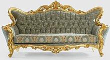 Casa Padrino Luxus Barock Sofa Grün/Gold 245 x 90