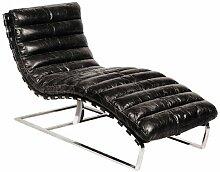 Casa Padrino Luxus Echtleder Vintage Oviedo Liege / Sessel Schwarz - Leder Sessel Art Deco Lounge Relax Sessel