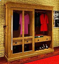 Casa Padrino Luxus Kleiderschrank B 226 x H 220 cm Haute Couture Schlafzimmer Schrank mit Glas Schiebetür - Art Deco Jugendstil Hotel Möbel, Farbe:Holzfarben