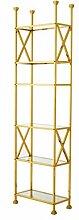 Casa Padrino Luxus Regal Schrank Edelstahl Gold mit Glasböden B 65 x H 230 cm Bücherregal Regal Schrank - Art Deco Möbel