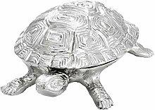 Casa Padrino Luxus Schatulle mit Deckel Schildkröte Messing vernickelt 19,5 x 10,5 x H. 6,5 cm - Luxus Dekoration