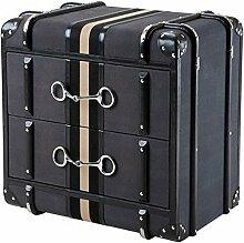 Casa Padrino Luxus Schubladen Schrank im Vintage Koffer Design Dark Grey Canvas - 2 Schubladen - Art Deco Barock Jugendstil Kofferschrank Nachtschrank