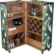 Casa Padrino Luxus Weinschrank mit Rollen Grün /