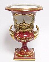 Casa Padrino Porzellan Vase mit 2 Griffen Rot Gold