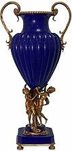 Casa Padrino Porzellan Vase mit 2 Messing Griffen 39 x 28,3 x H. 78,7 cm - Luxus Vase