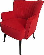 Casa Padrino Retro Salon Sessel Rot/Schwarz -
