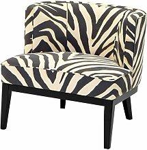 Casa Padrino Sessel im Zebra Design 78 x 74 x H. 77 cm - Luxus Wohnzimmer Sessel