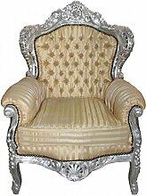 Casa Padrino Sessel King Mod2 Gold / Beige Streifen / Silber - Barock Sessel